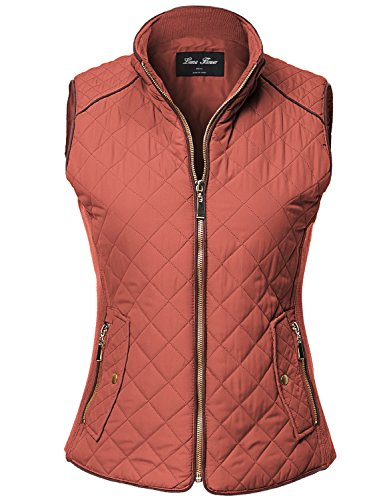 Luna Flower Women's Winter Quilted Padding Vest Comfortable Warm Jackets Rust L