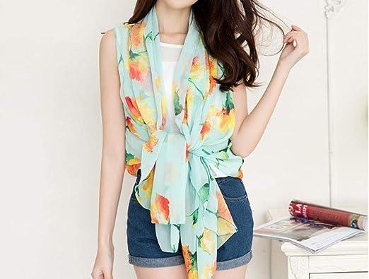 Camisa Suelta de Mujer Mantón de Verano Kimono Chiffon Cardigan Blusa Playera Protector Solar @ Flor Rama Verde Menta (Enviar cinturón): Amazon.es: Ropa y accesorios