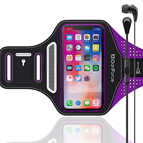 IPhone 7 , 6 , 6S SPORTS Armband   Stores Phone, Cash, Cards and Keys , Great for Running, Cycling, Workouts or any Fitness Activity Securely in Stret (Purple)