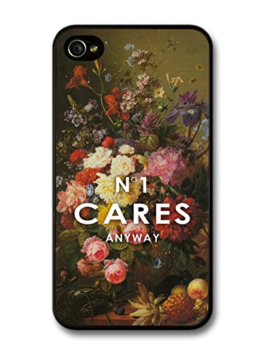 No 1 Cares Anyway Perfume Parody Vintage Flower Painting case for iPhone 4 4S