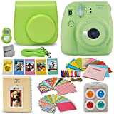 Fujifilm Instax Mini 9 Instant Camera LIME GREEN (NEW 2017 Release) + Accessories Kit / Bundle Includes: Mini 9 Case with Strap + Photo Album + Frames + 4 Color Filters + Large Selfie Mirror + MORE