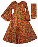 Decoraapparel Wrap Around Dress African Kente Print Maxi Long V-Neck Cotton Dress Bell Sleeves Gold