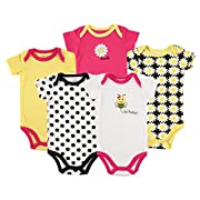 Luvable Friends Baby Infant 5 Pack Bodysuits, Bee, 3M(0-3 Months)