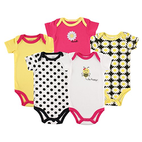 100% Cotton Bodysuit Set - Luvable Friends Baby Infant 5 Pack Bodysuits, Bee, 6M(3-6 Months)