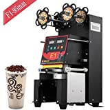 Happybuy 420W Commercial Automatic Cup Sealing Machine 500~650 Cups/H Electric Cup Sealer Machine W/ Digital Control for Sealing PP PET Paper Cups (95MM-Black)