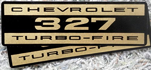 CHEVROLET 327 TURBO-FIRE VALVE COVER DECAL STICKER NEW - 2pc SET