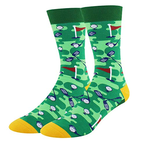 Men's Novelty Fun Sporting Golf Crew Socks Crazy Funny Silly Socks in Green]()
