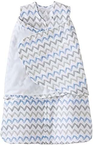 Halo 100% Cotton Muslin Sleepsack Swaddle Wearable Blanket, Blue/Grey Zig Zag, Newborn