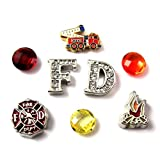 FCL Designs Fire Department Theme Floating Charms Combination for Lockets
