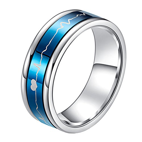 PAURO Stainless Steel 7MM EKG Heartbeat Spinner Ring Band for Men and Women, Blue Size 10