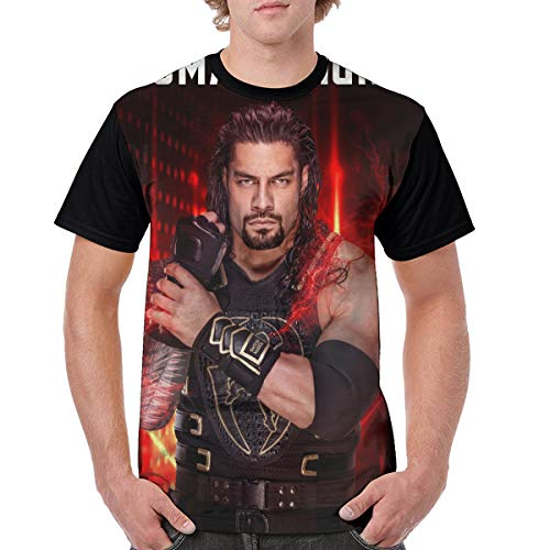 Roman Reigns 3D Print Short Sleeve T-Shirt Casual Tee for Mens Black (Roman T-shirt Tee)