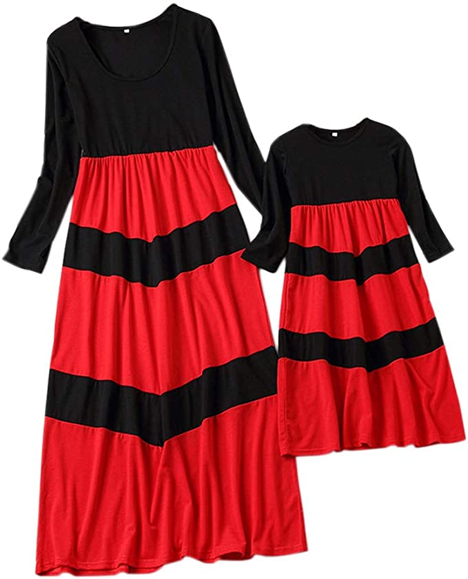 Mom and Daughter One Piece Stripe Print Strappy Round Neck Open Shoulder Red Midi Dress.