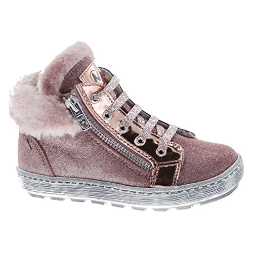 Fashion Fur Trim Lined Lace up Booties,Rosa-Pink,25 ()