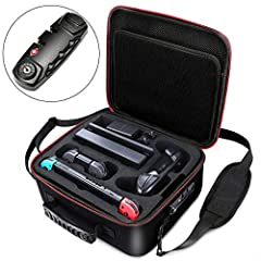 Size:11.7 x 10.3 x 5.6 inches. 1. Cut-out foam for Nintendo Switch and accessories Fit Switch, joy-con grip, dock, power adapter, Switch pro controller, joy-con straps, HDMI cable and 21 game cards. 2. Provide maximum protection foryour Switc...