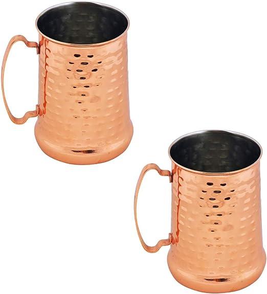 700ml Tankard con Finitura Martellata e Rame Kosma Set di 4 Boccali di Birra in Acciaio Inossidabile Moscow Mule Mug