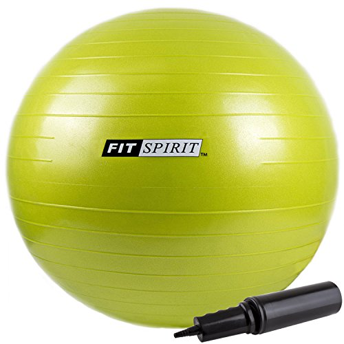 Fit Spirit Green Exercise Balance Fitness Yoga Ball With Pump   45Cm