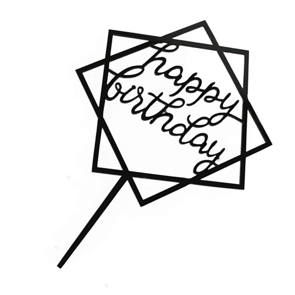 Tman Cake Piazza della Carta Happy Birthday Cake Topper Acrilico Inserire Fai da Te Glitter Cupcake Smash Candle Stick