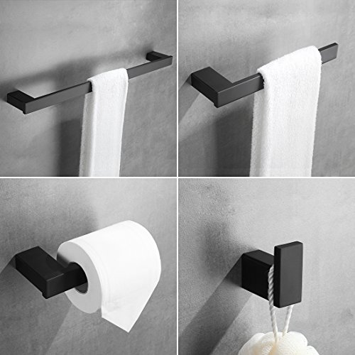 4-Piece Bathroom Hardware Set - Towel Bar Accessory Set Towel Hook Toilet Paper Holder Towel Ring Stainless Steel Wall Mounted, Black Painted by Aimadi