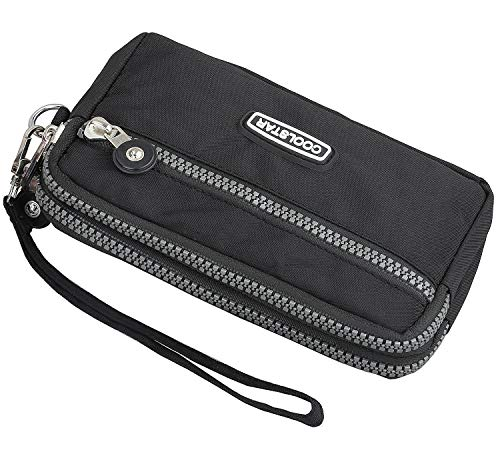 3 Zippers Clutch Wallet Waterproof Nylon Cell phone Purse Wristlet Bag Money Pouch for Women (Black) by Coolstar (Image #1)