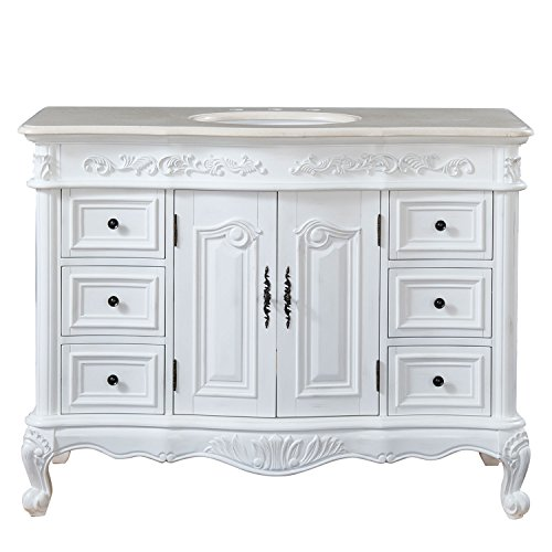 Silkroad Exclusive Countertop Marble Single Sink Bathroom Vanity with with White Oak Finish Cabinet, 48