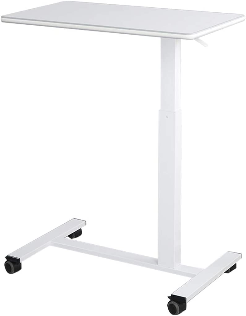 Furist Overbed Table Mobile Beside Desk with Locking Caster Wheels - 17''x30'' Height Adjustable Pneumatic Desk Laptop Overbed Table Bedside Sofa Great for Hospital Medical Use or at Home (White)