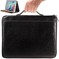 iPad Pro Case With Handle for Easy Carrying by CUVR®. Smart Kick-Stand, Business Pockets and Designer Zip. Black Premium Leather PU . Cover Your 2015 Apple While You Commute! Boxing Day Sale