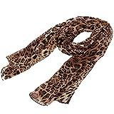 uxcell Leopard Cheetah Print Chiffon Women Neck Wrap Stole Shawl Scarf
