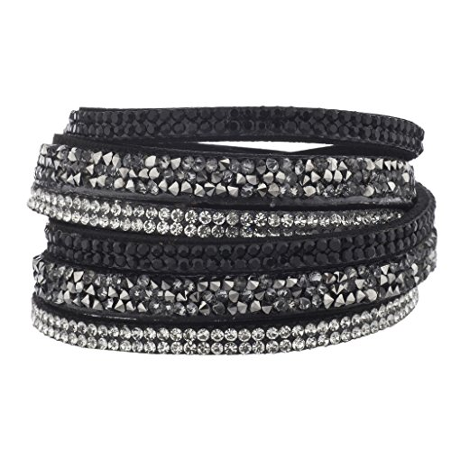 Lux Accessories Black Suede Cluster Stone Crystal Jet Double Row Wrap (Crystal Double Row Bracelet)