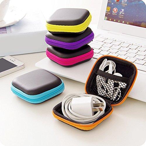 Bluelans Mini Pocket Hard Case Reißverschluss Aufbewahrungstasche für Kopfhörer in-Ear SD Karte violett