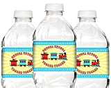 POP parties Train Party Bottle Wraps - 20 Train Water Bottle Labels - Train Party Decorations - Train Party Supplies - Bottle