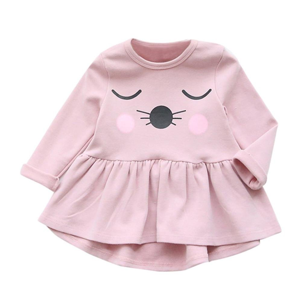 ❤️Kobay Kleinkind Kinder Baby Mädchen Baumwolle Kleidung Langarm Katze Druck Kleid Casual Tops KOBAY-Zu den Kindern gehören