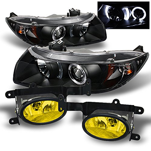 For Honda 06-08 Civic Coupe 2Dr Black Halo Projector Headlights+ Yellow Fog Lights W/Switch