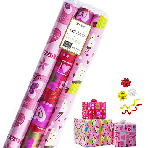 Gift Wrapping Paper - Premium Gift Wrap, 3 Rolls - 2.5 ft x 10 ft per Roll, Includes 3 Bows, 2 Ribbons (All Occasion Gift -