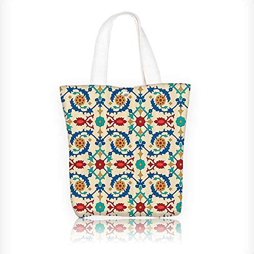 Canvas Tote Bags mNostalgic Islamic Motifs With Floral Ornaments With Baroque Inspiratis Ethn Design Your Own Party Favor Pack Tote Canvas Bags by Big Mo's Toys W11xH11xD3 INCH by Jiahonghome