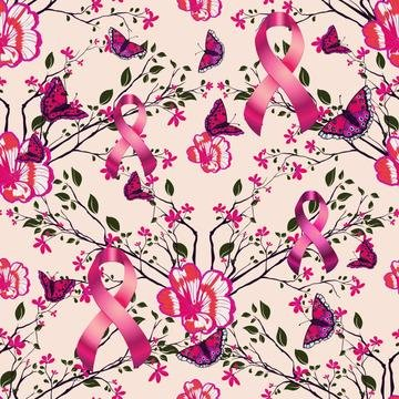 Breast Cancer Fleece Fabric, Flowers, Butterflies and Ribbons 7114-F