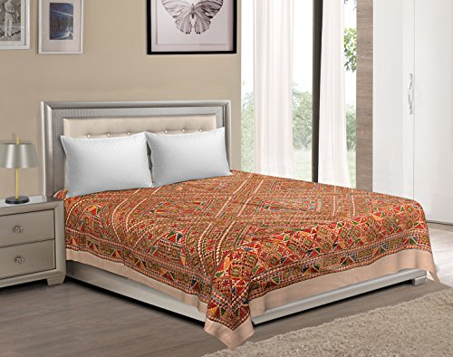 Vaibhav International Multicolor Leaf/Jalebi Cut Work Cotton Double Bedsheet by Vaibhav International
