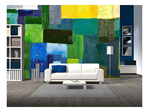 wall26 - Abstract Texture Background of an Original Oil Geometric Painting - Removable Wall Mural   Self-Adhesive Large Wallpaper - 100x144 ()