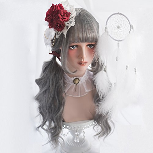 Long Wavy Grey Wig Bangs - Natural Gray Wigs for Women and Girls Cosplay Costume, Lolita Style Synthetic Hair with Wig Cap by Alice Garden Wigs (Image #5)