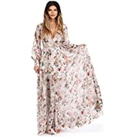 Party Dress,Han Shi Women Fashion V Neck Long Sleeve Floral Chiffon Maxi Gown