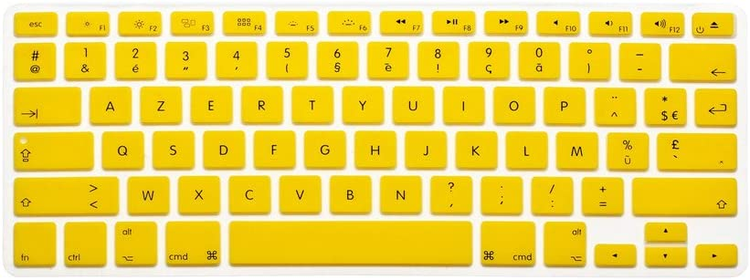 HQF Notebook SiliconeFrench Belgian Keyboard Skin Protection Laptop Layout for All Apple MacBook Air Pro 13 15 US Version French//English Keyboard Cover Turquoise