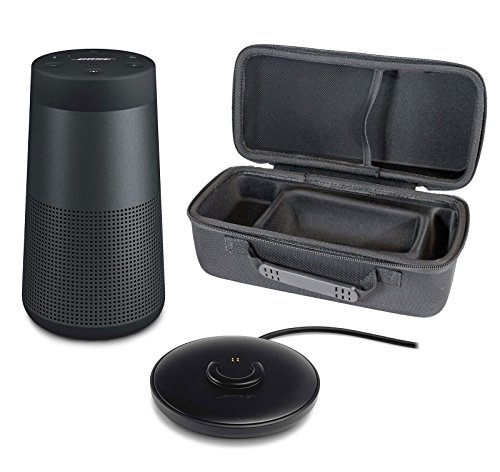 Bose SoundLink Revolve Portable Bluetooth Speaker with 360° Sound, Triple Black, with Charging Cradle & Portable Hardshell Travel Case by Bose