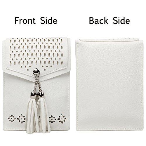 Women Small Crossbody Bag, seOSTO Tassel Cell Phone Purse Wallet Bags (White) … by seOSTO (Image #3)