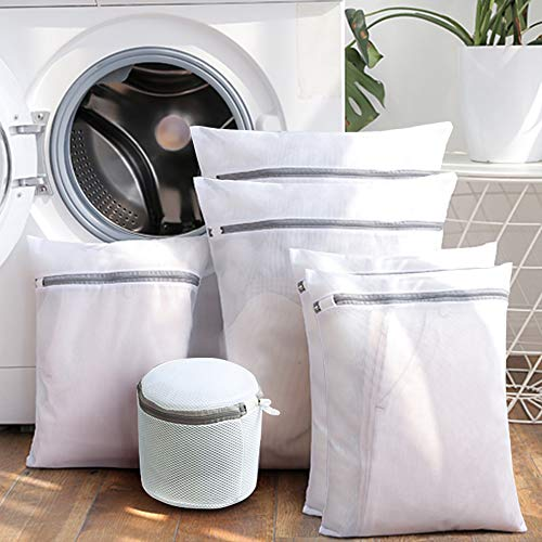 Sunta Mesh Laundry Bag, 6 Pack Laundry Bag, Laundry Bags for Delicates with Premium Zipper, Travel Storage Organize Bag, Clothing Washing Bags for Laundry, Blouse, Bra, Hosiery, Stocking, ()