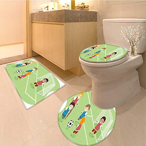 MikiDa Soft Toilet Rug 3 Pieces Set stickman illustration featuring a group of boys playing soccer Customized Super Soft Plush by MikiDa