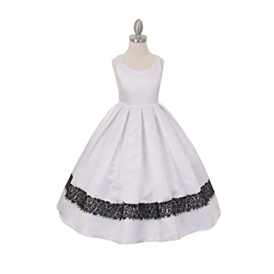 5d98fe8615d Cinderella Couture Big Girls White Satin Lace Trim Special Occasion Dress 10