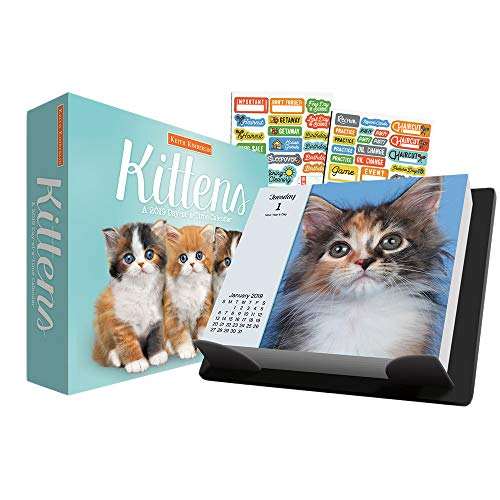 (Keith Kimberlin Kittens 2019 Calendar, Box Edition Set -- Deluxe 2019 Kitten Day-at-a-Time Calendar with Over 100 Calendar Stickers (Page a Day Calendar, Kitten Office Decor and Supplies)    )