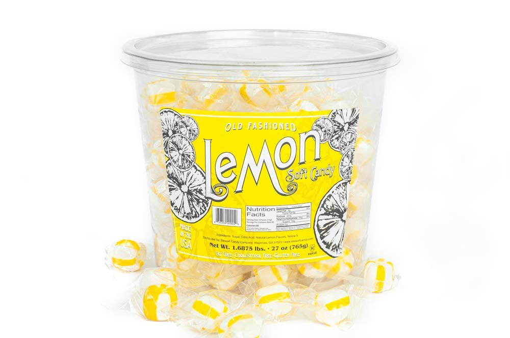 Stewart Candy Lemon Flavored Soft Candy Puff Balls - 27oz Tub for Home,  Office, Break Rooms -