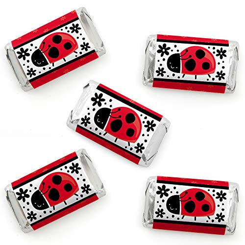 Happy Little Ladybug - Mini Candy Bar Wrapper Stickers - Baby Shower or Birthday Party Small Favors - 40 Count ()