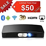SeeYing Y2 3D Multimedia Home Theater Video Projector, Max 200'' 3000Lumen Android Mini Portable Projector Support 1080p HDMI Bluetooth WIFI USB SD Card AV VGA for Home Cinema Laptop TV Games Phone