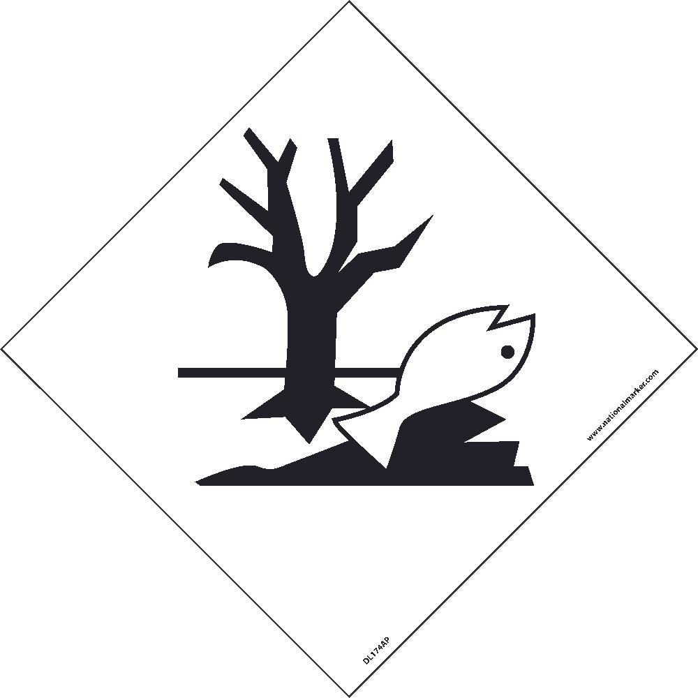 DL174AL National Marker Dot Shipping Label, Marine Pollutants Symbol, 4 Inches x 4 Inches, Ps Paper, 500/Roll